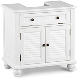 Louvered Pedestal Sink Cabinet   White