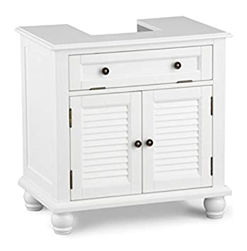 Louvered Pedestal Sink Cabinet   White Part 11