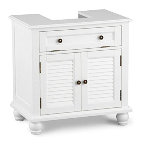 Cheap Louvered Pedestal Sink Cabinet - White