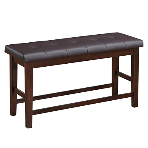 Dining Bench Solid Chocolate Brown Bonded Leather Counter Height (Corliving  DWG 280 S