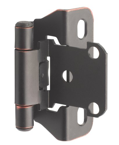 Amerock BP7566ORB Self-Closing, Partial Wrap Hinge with 1/4in(6mm) Overlay - Oil-Rubbed Bronze - 2 Pack - Closing Partial Wrap Overlay Hinges