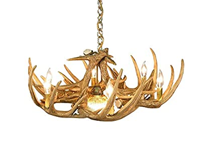Rustic Whitetail Deer 9 Antler Chandeler with 6-2 Watt LED Soft White Bulbs Included and 1 Downlight