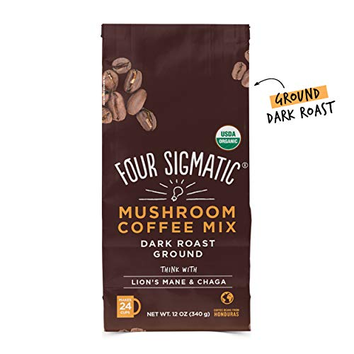 (Four Sigmatic Mushroom Ground Coffee - USDA Organic and Fair Trade Coffee with Lions Mane and Mushroom Powder - Focus, Wellness - Vegan, Paleo - 12 Oz - Dark Roast)