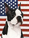 Boston Terrier by Tamara Burnett Patriotic II Garden Dog Breed Flag 12'' x 17''