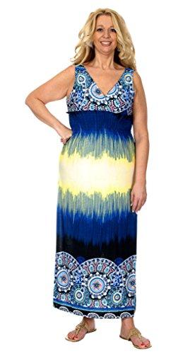 Women's Plus Size Ankle Length Maxi Dress with V-Cut Neckline & Back (3X, Blue)