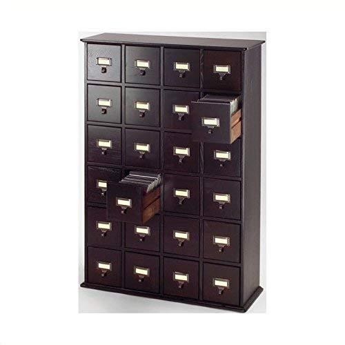 Leslie Dame CD-456ES Solid Oak Library ard File Media Cabinet, 24 Drawers, Espresso ()