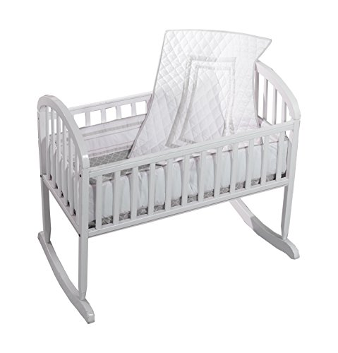 - Baby Doll Bedding Soho Cradle Bedding Set with 100% cotton trellis design sheet, Grey