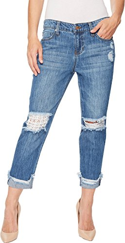 Liverpool Women's Kennedy Crop Boyfriend in a Classic Soft Rigid Denim in Gramercy Patched Gramercy Patched 12 24