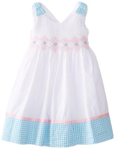 Hartstrings Cotton Dress - Hartstrings Little Girls' Cotton Poplin Smocked Dress, White, 3T