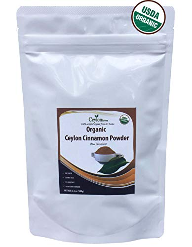 Ceylon Flavors Organic Ceylon Cinnamon Powder 3.5 oz, True Cinnamon, Premium Special Grade, Non GMO, Harvested & Packed from a USDA Certified Organic Farm in Sri Lanka