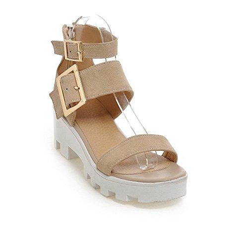 AllhqFashion Women's Zipper Kitten Heels Frosted Solid Open Toe Sandals Beige LkkkM2ZoZN