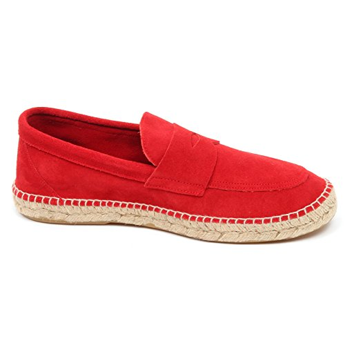 espadrillas Rosso red man D2584 leather uomo shoe ABARCA loafer mocassino qZ7zTX