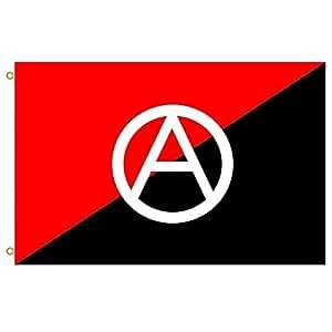 Gran bandera Anarchist bandera con un símbolo bandera de 2a rojo y negro bandera USA como la anarquía símbolo con letra a con un círculo en el centro Bandera al aire libre bandera bandera 3x 5ft Banner