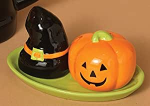 Witch Hat & Pumpkin Salt & Pepper Shaker Halloween Kitchen Figurine Decorations