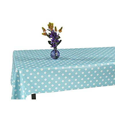 "Ottomanson Vinyl Tablecloth Polka Dot Design Indoor & Outdoor Non-Woven Backing Tablecloth, 55"" X 102"", Light Blue - A must have tablecloth in every house to protect your tables from wear, tear, damage, stain and spills. 