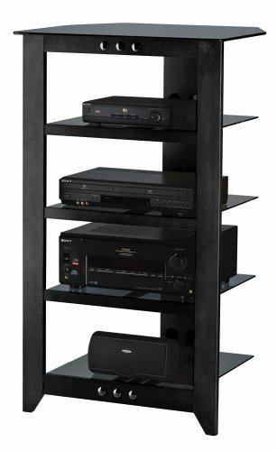 Sanus Foundations Natural NFA245 Audio Stand - Steel, Glass, Hardwood - Black