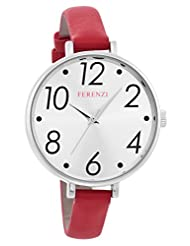 Ferenzi Women's | Large Modern Easy Read Silver Face Thin Red Band Watch | FZ16101