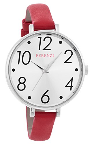 FERENZI Women's | Modern Silver-Tone and Red Large Easy Reader Analogue Quartz Fashion Watch | FZ16101