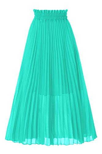 Musever Women's Pleated A-Line High Waist Swing Flare Midi Skirt Tiffany Blue ()
