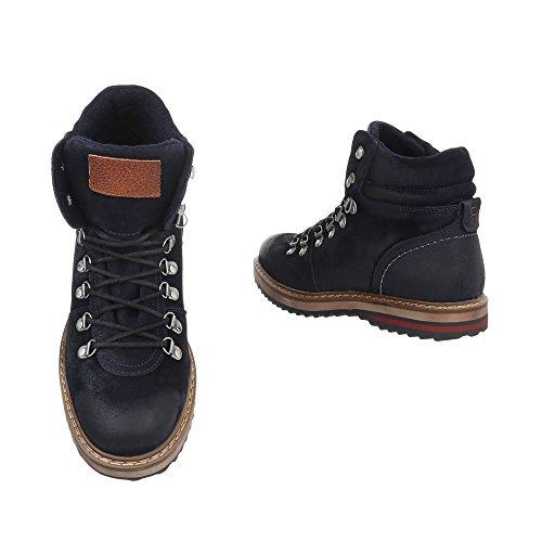 Stiefeletten Leder Herren-Schuhe Combat Boots Schnürer Schnürsenkel Ital-Design Boots Schwarz, Gr 42, Tnk-201-