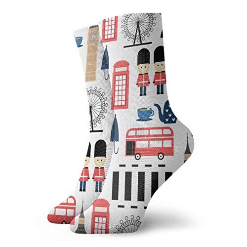 YUANSHAN Socks London Pattern Women & Men Socks Soccer Sock Sport Tube Stockings Length 11.8Inch -