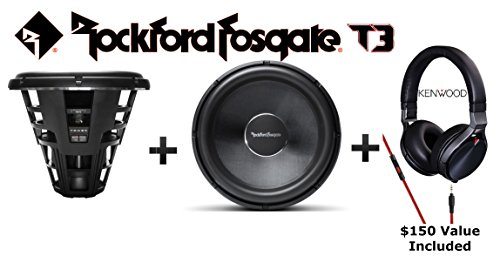 """Two T3 Rockford Fosgate 19"""" 6000 Watt Max Single 1 Ohm Voice Coil Power Series T3S1-19 Subwoofers with Kenwood KH-KR900 Headphones"""