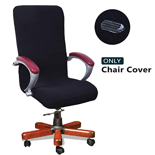 WOMACO Waterproof Office Chair Cover, Jacquard Computer Office Chair Covers Water-Repellent Universal Boss Chair Covers Modern Simplism Style High Back Chair Slipcover (Black, Large) (Office Chair Back Slipcovers)