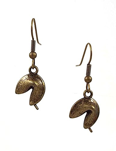 Fortune Cookie Dangle Earrings Antiqued Brass Color
