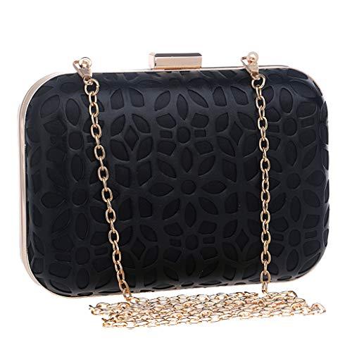 Hot 2019 Women Evening Envelope Cover Handbag Party Sparkly Clutch Purse Shoulder Cross Bag (Black, Free) ()