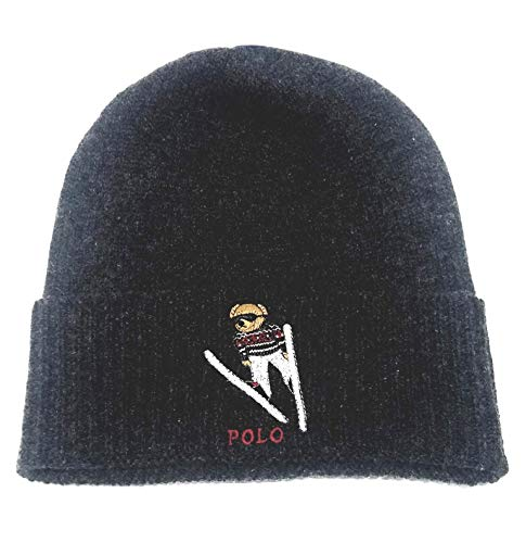 Polo Ralph Lauren Unisex Cashmere Wool Bears Winter Beanie Skully Hat (Charcoal Grey/Ski)
