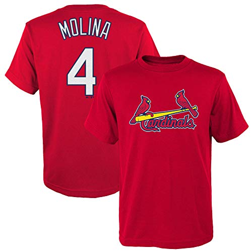 (Outerstuff Yadier Molina St Louis Cardinals #4 Red Youth Name and Number Jersey T-Shirt (Small 8) )