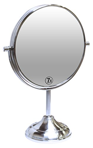 (Decobros 8-inch LARGE Tabletop Two-sided Swivel Vanity Mirror with 7x Magnification, 13-inch Height)