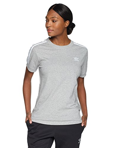 adidas Originals Women's 3 Stripes Tee, Medium Grey Heather, XL