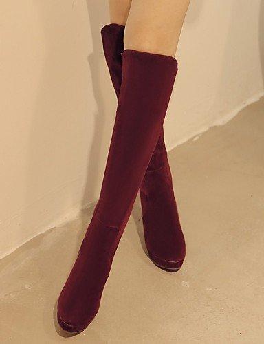 XZZ  Damenschuhe - Stiefel - Kleid   Lässig Lässig Lässig - Vlies - Stöckelabsatz - Rundeschuh   Modische Stiefel - Schwarz   Burgund fd85ef