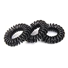 Log10® 25 x Spiral Plastic Elastic Hair Bands Black ~ 4 cm (Ships from Canada)