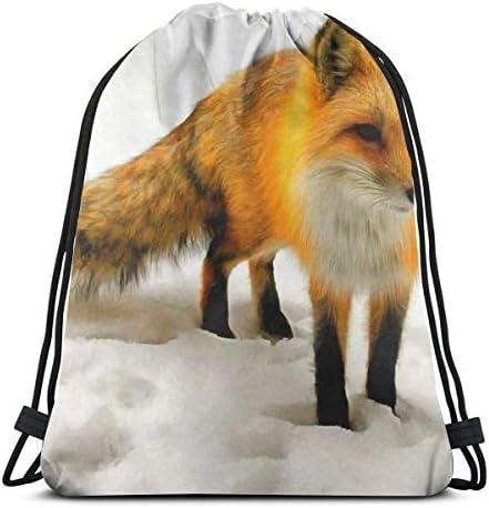 かわいいフォックス冬雪巾着バッグバックパックジムダンスバッグハイキングビーチ旅行バッグ用バックパック36 x 43cm