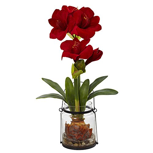 Amaryllis Vase - Nearly Natural Amaryllis with Vase Floral Decor, 24