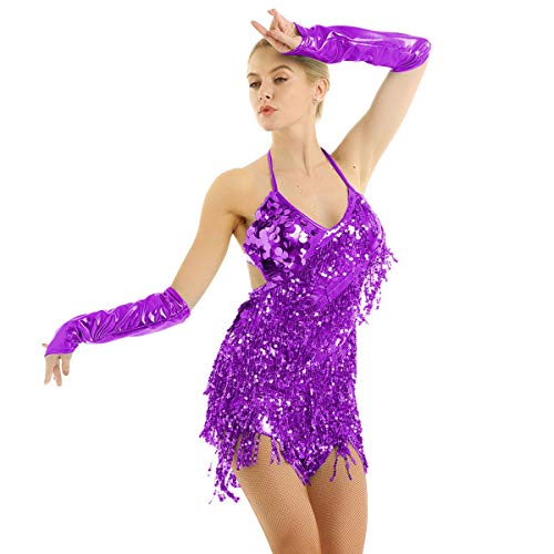 YiZYiF Women's Halter Neck Latin Salsa Tango Ballroom Dance Costume Tassels Sequins Dress Purple One ()