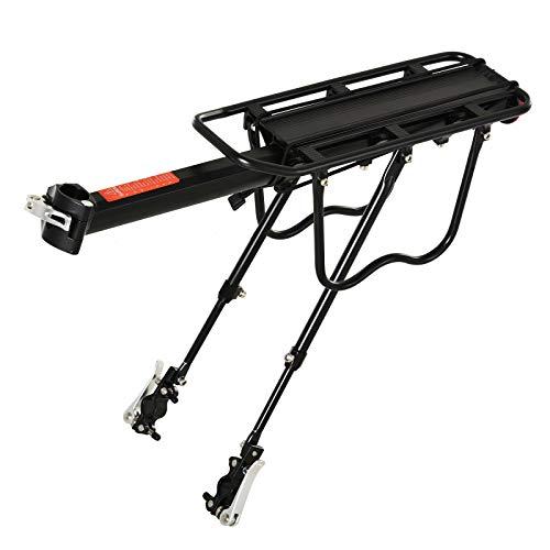 HOMCOM Portaequipajes Posterior para Bicicletas Portaequipajes con Reflector Rojo para Maletas Revestimiento Inoxidable Carga Max 25 kg 58x39x14,5 cm Negro