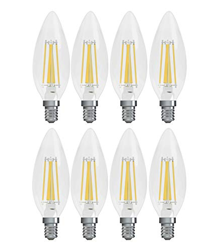 GE Lighting Refresh HD LED 4-watt (40-watt Replacement), 300-Lumen Blunt Tip Light Bulb with Candealbra Base, Daylight,  8-Pack