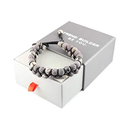 New Lava Rock Natural Stone Essential Oil Diffuser Tassel Bracelets for Aromatherapy | Distance Friendship Mala Tibetan Prayer Beaded Bracelet | 20 OPTIONS | Gift Box Included