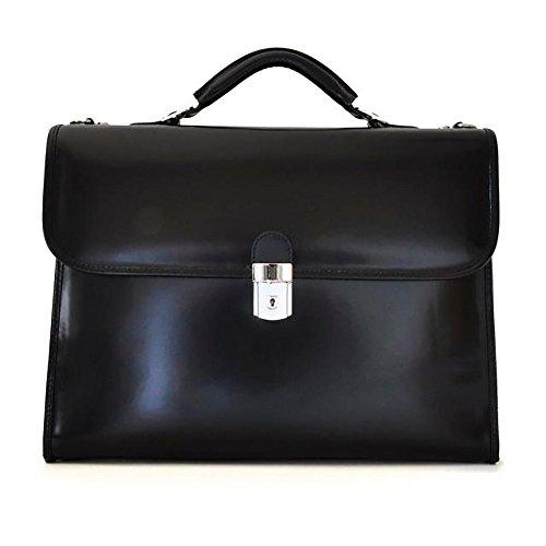 Pratesi Mens Personalized Custom Initials Embossing Italian Leather Da Verrazzano Leather Laptop Briefcase in Black