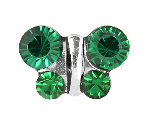 (Studex Sensitive Stainless Steel Birthstone Crystal Butterfly Stud Earrings - May / Emerald)