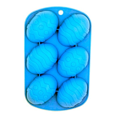 Lauren 6 Cavity Wave Easter Egg Silicone Cake Pan Bakeware Chocolate Dessert Mold Party Decorate -