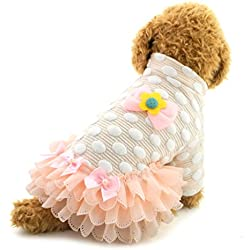 SMALLLEE_LUCKY_STORE Tutu Dog Dress Dots Lace Bow Skirt Pullover Puppy Clothes, X-Small, Pink