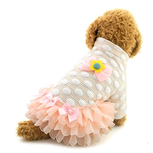 SMALLLEE_LUCKY_STORE Dog Tutu Dress Dots Pattern Small Dog Clothes, XX-Large, Pink