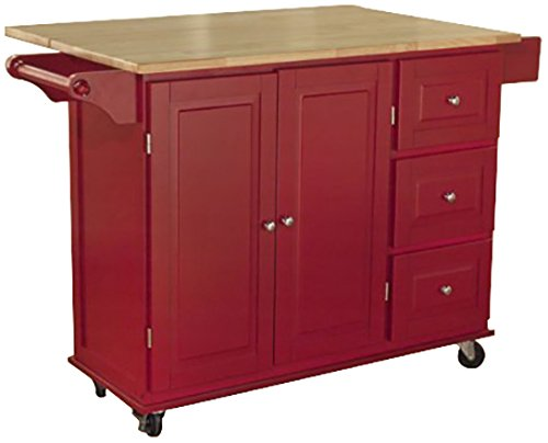 TMS Kitchen Cart Base Finish: Red