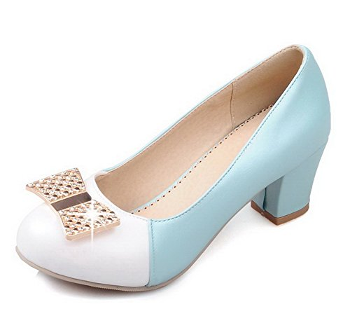VogueZone009 Women's Round Closed Toe Kitten-Heels Blend Materials Assorted Color Pumps-Shoes Blue
