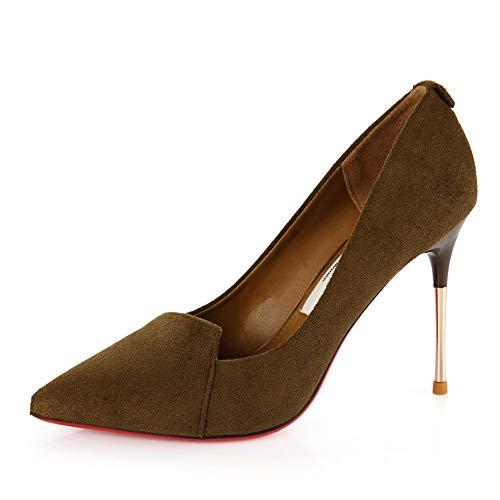 FLYRCX La Primavera y el otoño señalaron los Altos Talones del Estilete Zapatos de Partido de Gamuza Superficial Sexy Zapatos de Boda Elegante Temperamento Zapatos de Banquete C