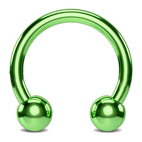 Fifth Cue Titanium IP Over 316L Surgical Steel Circular Horseshoe Barbells - CHOOSE COLOR/SIZE (Green | 12GA | 1/2-12mm w/5mm ()